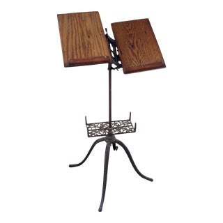 Victorian Wood & Iron Book Stand For Sale