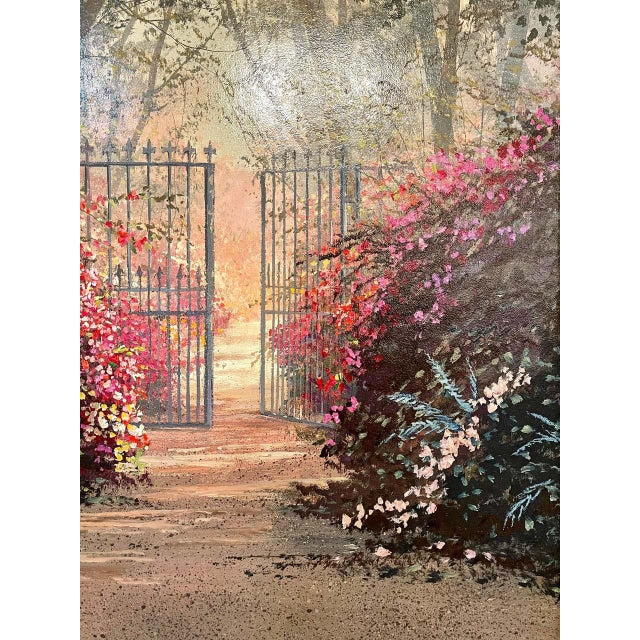 Traditional Juan Archuleta Gates and Garden Painting For Sale - Image 3 of 13