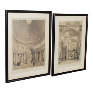 Cathedral Art Italian Architectural Scene Lithograph Pair For Sale