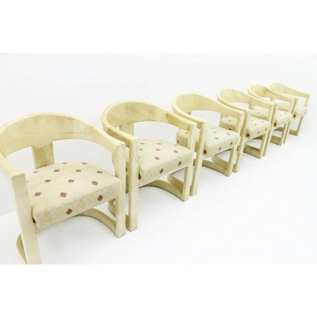 1980s Set of Six Karl Springer Onassis Chairs, Goatskin, 1980s For Sale - Image 5 of 10