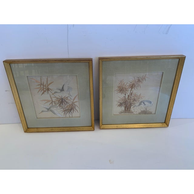 Antique Framed Fine Needlework of Herons -A Pair For Sale - Image 11 of 11