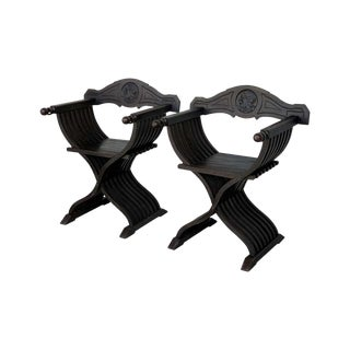 19th Century Pair of Carved Walnut Folding Scissors Savonarola Bench or Settle For Sale