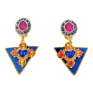 Christian Lacroix Enamel and Color Stone Drop Earrings For Sale