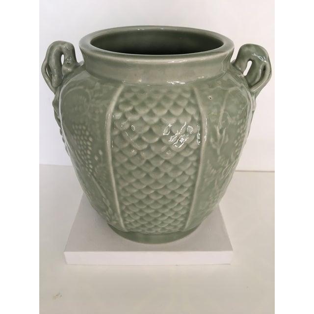 Vintage Two Handled Celadon Ginger Jar/Urn For Sale - Image 9 of 9