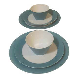 Arzberg Tric Caribic Blue Porcelain Dinnerware-Set of 6 For Sale