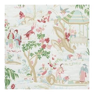 Sample - Schumacher Yangtze River Wallpaper in Aqua For Sale