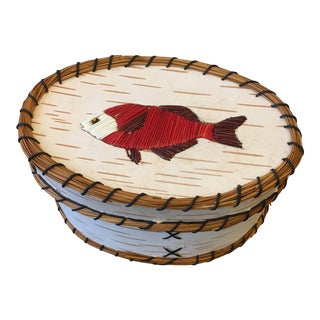 Late 20th Century Vintage Handmade Native American Inspired Fish Basket For Sale