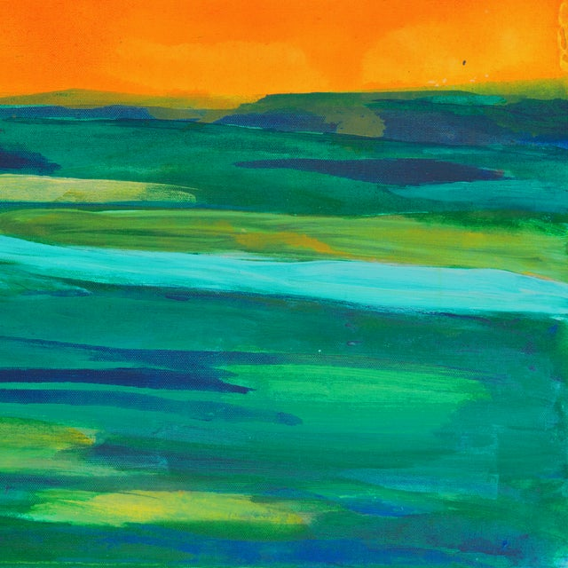 Coral & Teal Abstract Sunset by Glenn Lyons - Image 4 of 6