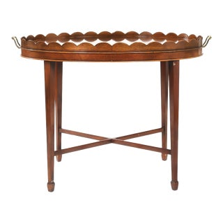 Mid-20th Century Inlaid Mahogany Tray Table For Sale