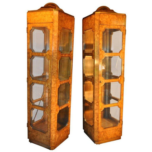 Wood Mastercraft Burl Wood Curio Cabinets - a Pair For Sale - Image 7 of 7