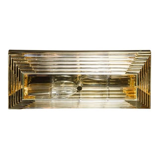 Mid-Century Modernist Rectilinear Brass and Glass Rod Flush Mount Chandelier For Sale