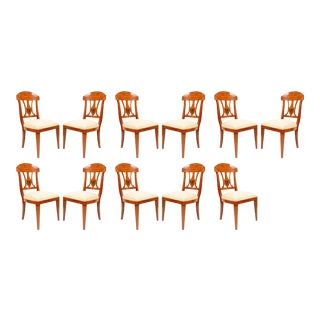 Biedermeier Mahogany Side Chairs - Set of 11 For Sale