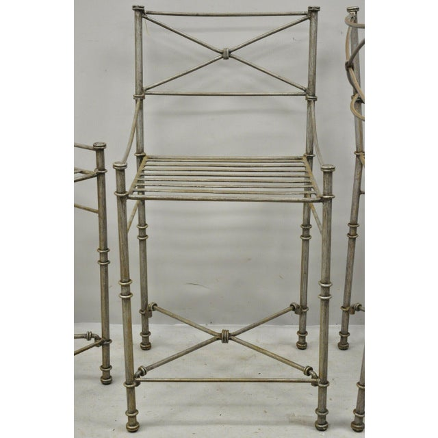 Metal Late 20th C Pier 1 Medici Pewter Wrought Iron Counter Bar Stools - Set of 3 For Sale - Image 7 of 11