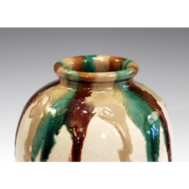 Ceramic Awaji Pottery Art Deco Vase in Tricolor Drip Glaze For Sale - Image 7 of 9