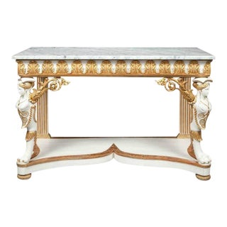 Italian Empire White Painted and Parcel Gilt Console Table Circa 1825