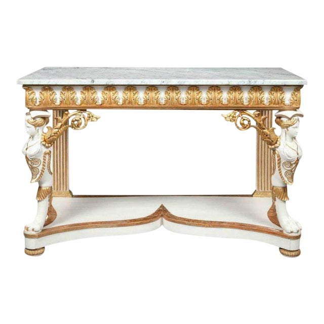 Italian Empire White Painted and Parcel Gilt Console Table Circa 1825 For Sale