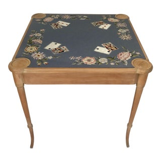 20th Century Traditional Needlepoint Game Table For Sale