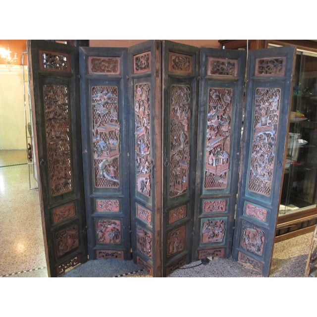 Chinese Qing Dynasty Polychrome Carved Wood 6 Panel Figural 6 Panel Screen For Sale - Image 9 of 9