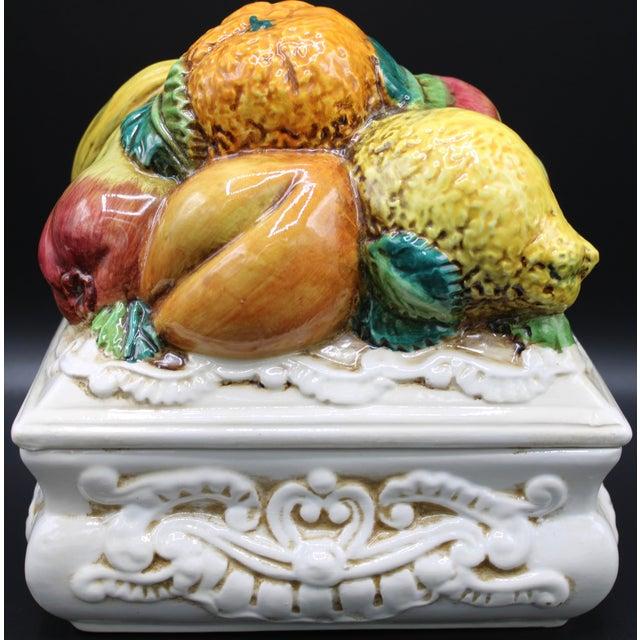 Italian Ceramic Fruit Lidded Box For Sale - Image 4 of 11