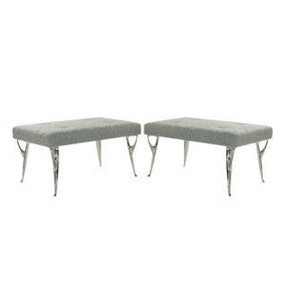 Pair of Italian Benches on Sculptural Nickel Plated Legs For Sale