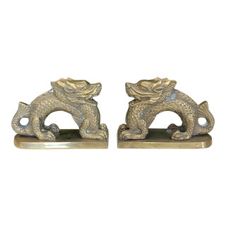 Vintage Brass Dragon Bookends For Sale