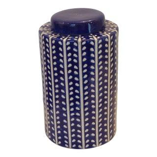 Modern Ceramic Blue & White Covered Jar For Sale