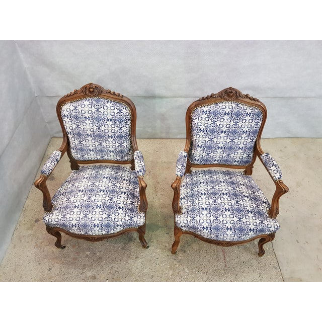 Gorgeous Pair of French Newly Upholstered Carved Walnut Louis XV Caster Wheel Armchairs For Sale - Image 4 of 13