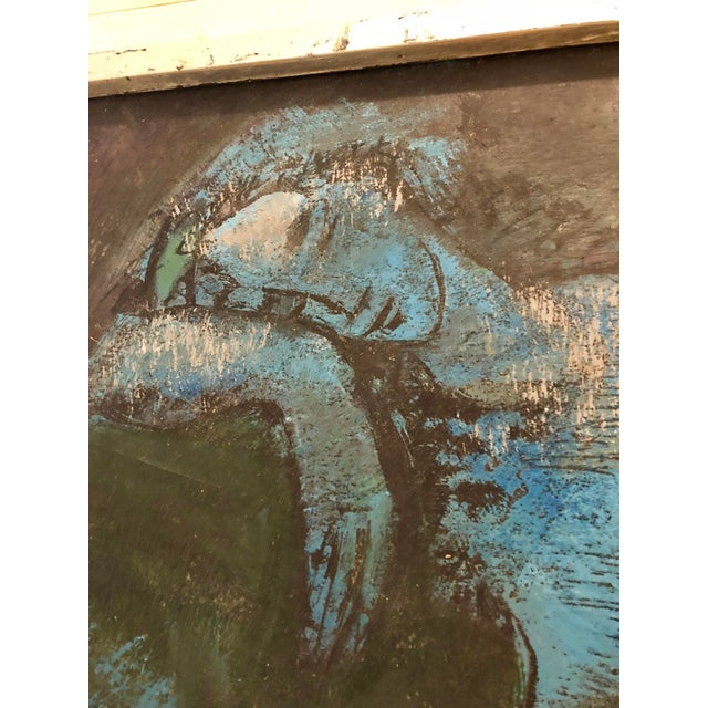 Vintage Mid-Century Blue Reclining Nude Oil Painting by Etienne Ret For Sale - Image 9 of 10