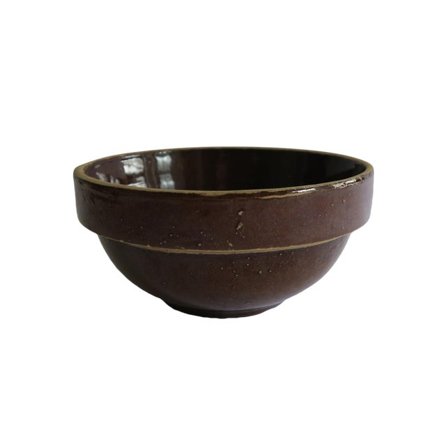 Antique Small Brown Stoneware Earthenware Crock Farmhouse Round Bowl For Sale