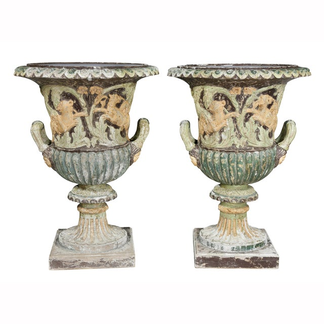 Neoclassical Pair of European Carved and Painted Wood Campagna Form Urns For Sale - Image 3 of 13