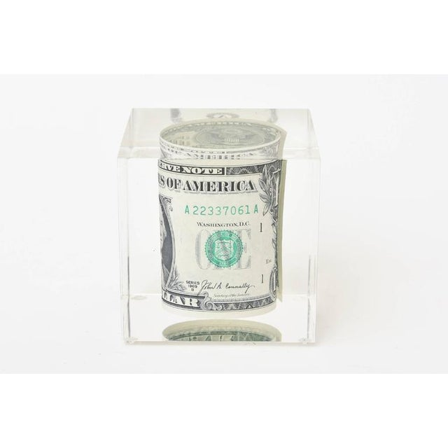 1970s Vintage Dollar Bill Lucite Sculpture / Paperweight For Sale - Image 5 of 10