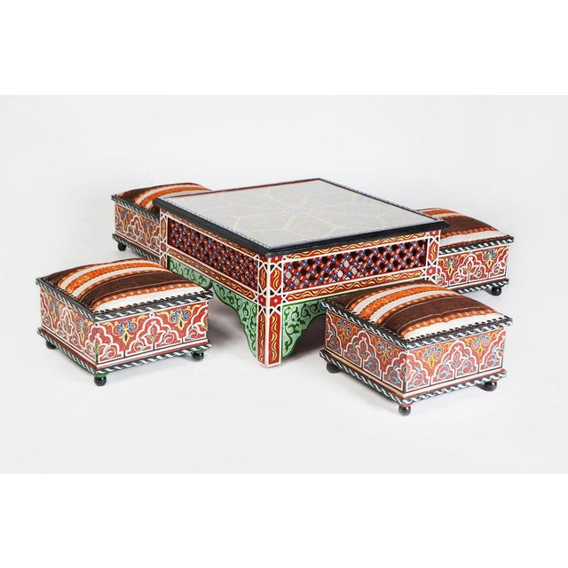 Boho Chic Moucharabieh Tabouret Square Painted Ottoman For Sale - Image 3 of 3