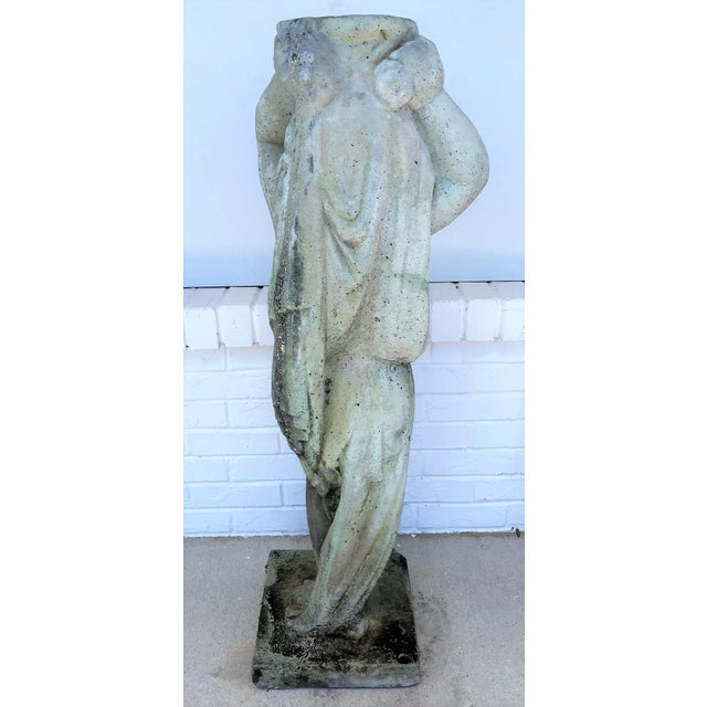 Gray Vintage Old Palm Beach Stone Putti Planter Garden Statue For Sale - Image 8 of 13