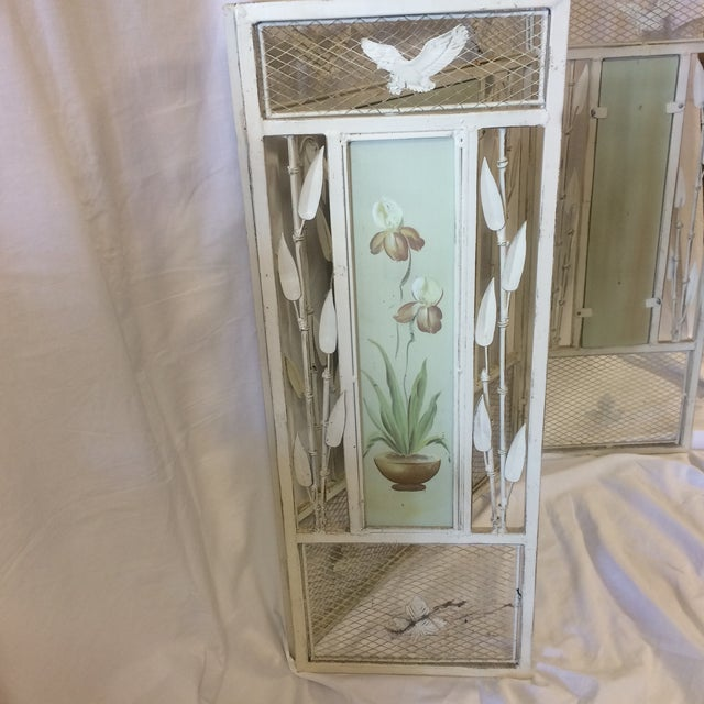 Vintage Shabby Chic Metal Hand Painted Fireplace Screen - Image 4 of 10