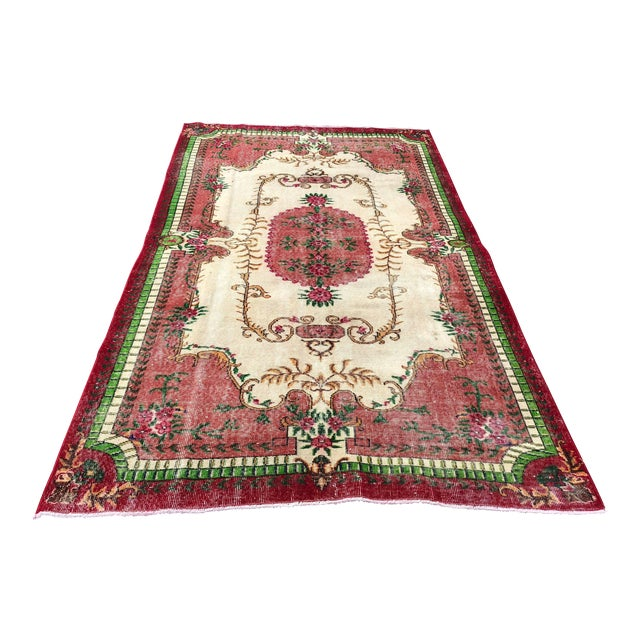 1960s Vintage Turkish Rug - 5′4″ × 9′2″ For Sale