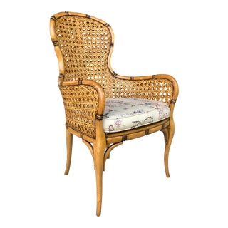 Faux Bamboo & Caning Desk Chair For Sale