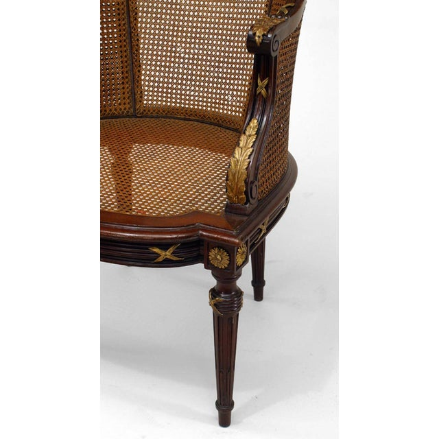 Louis XVI French Louis XVI Style Ormolu-Mounted Mahogany Caned Bergere For Sale - Image 3 of 4