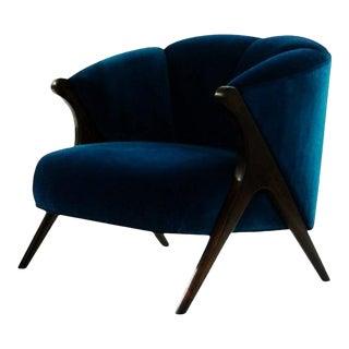 Modernist Karpen Style Barrel Club Chair in Blue Velvet For Sale