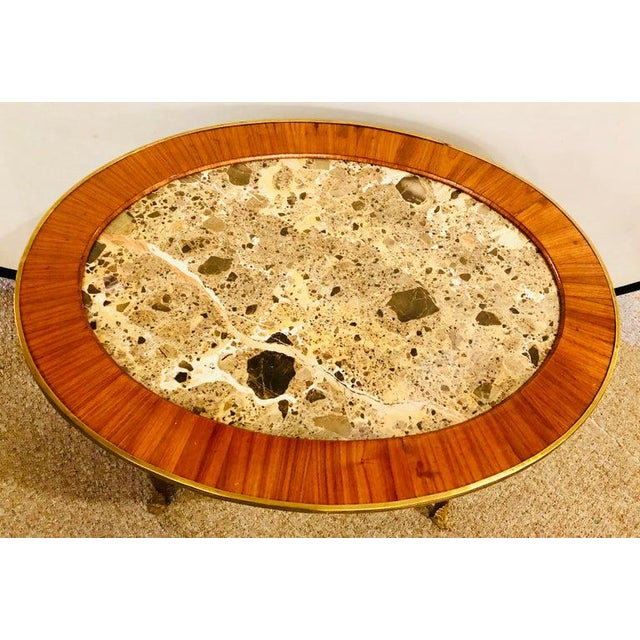 1920s Louis XVI Style Coffee or Low Table Walnut and Marble For Sale In New York - Image 6 of 13
