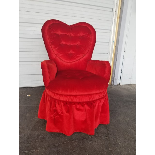 Vintage Heart Shaped Red Boudoir Chair For Sale - Image 4 of 6