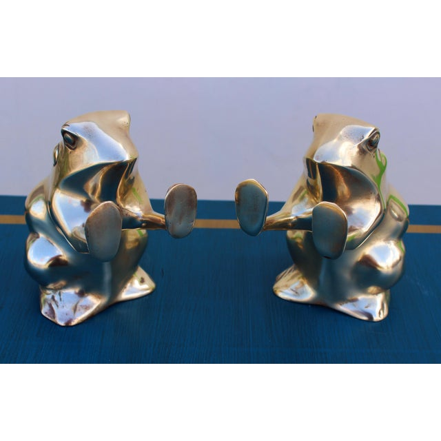 Brass Frog Bookends - A Pair - Image 3 of 5