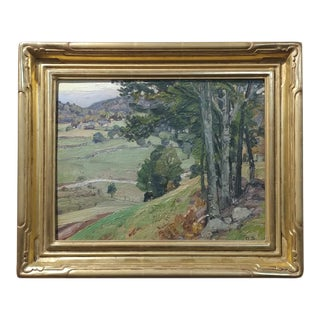 George Symons 1920s View Down to the Farm - Oil Painting For Sale