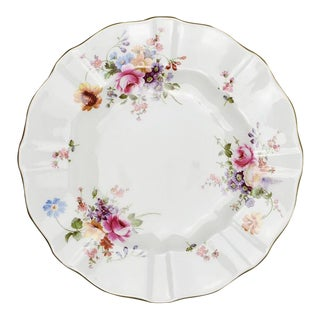Bone China Scalloped Porcelain Royal Crown Derby Dinner Plate in Derby Posies Rose Pattern For Sale
