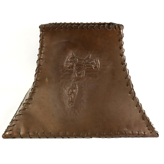 1920s Ranch Cowboy Lamp Shade, Copper - Image 6 of 8