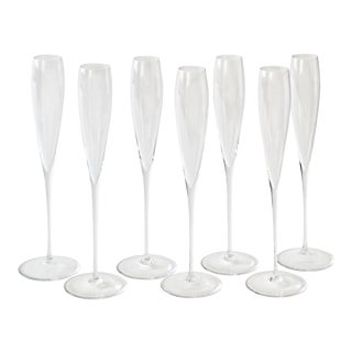 Contemporary Glass Champagne Flutes - Set of 7 For Sale