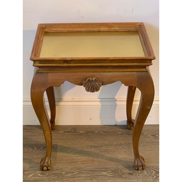 Diminutive Bleached Wood & Brass Side Table For Sale In West Palm - Image 6 of 7