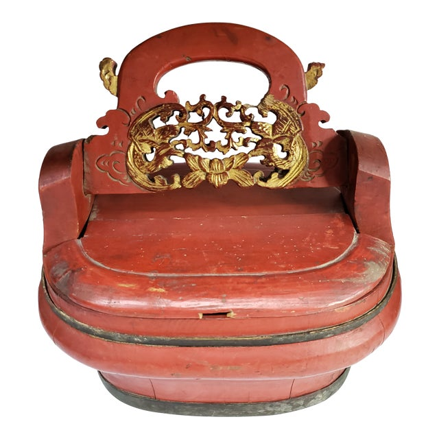 1960s Vintage Chinese Red Painted Wood Food Wedding Basket For Sale