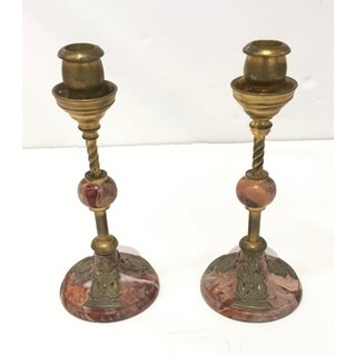 1920s Art Deco Antique Marble and Brass Candlesticks - a Pair Preview