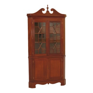 1940s Federal Biggs Mahogany Large Corner Cabinet With Inlay For Sale