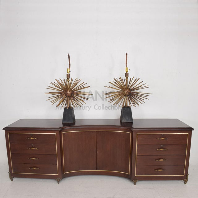 Pair of Mid-Century Mexican Modernist Pani Starburst Brass Table Lamps For Sale - Image 4 of 10
